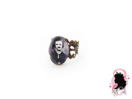 Antique Bronze Edgar Allan Poe Ring